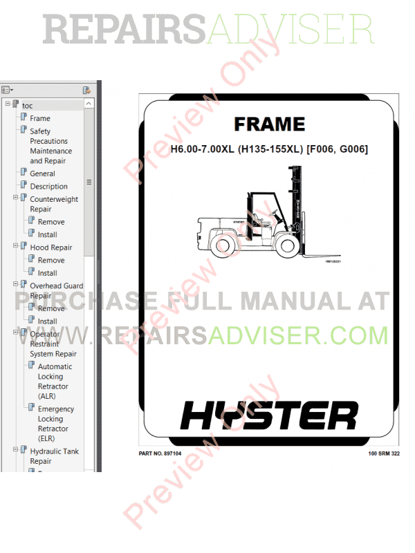 Hyster Class 5 For G006 Europe Internal Combustion Engine Trucks PDF Manual image #1