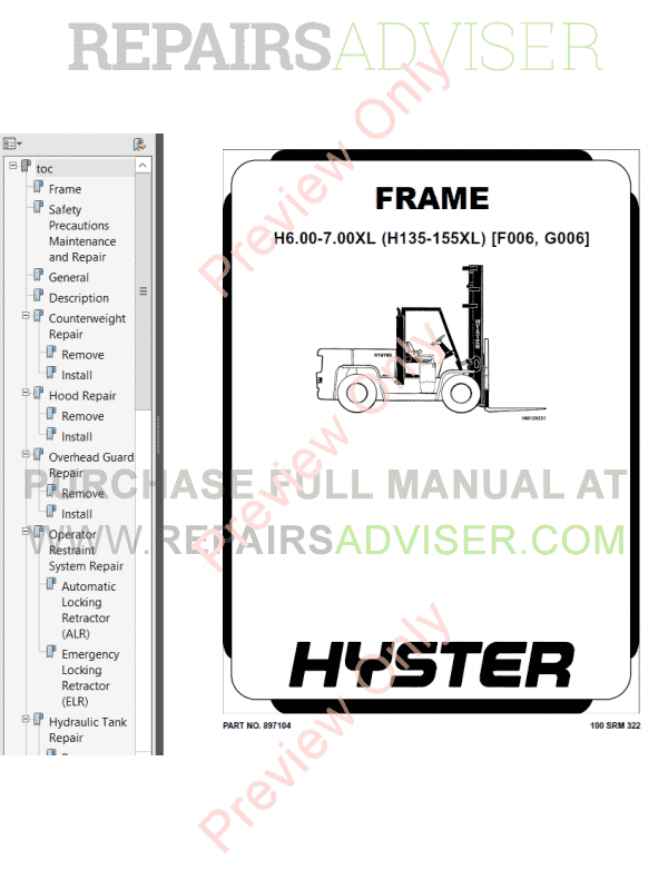 Hyster Class 5 For G006 Internal Combustion Engine Trucks PDF Manual