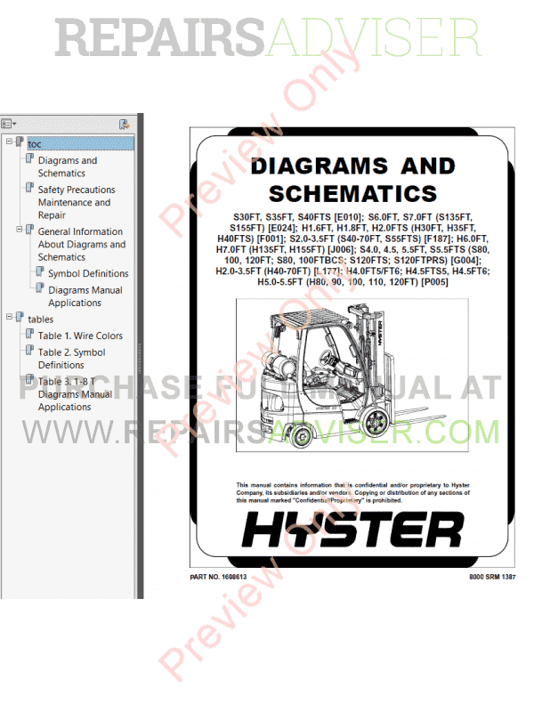 Hyster Class 5 For J006 Europe Internal Combustion Engine Trucks PDF Manual, Manuals for Trucks by www.repairsadviser.com