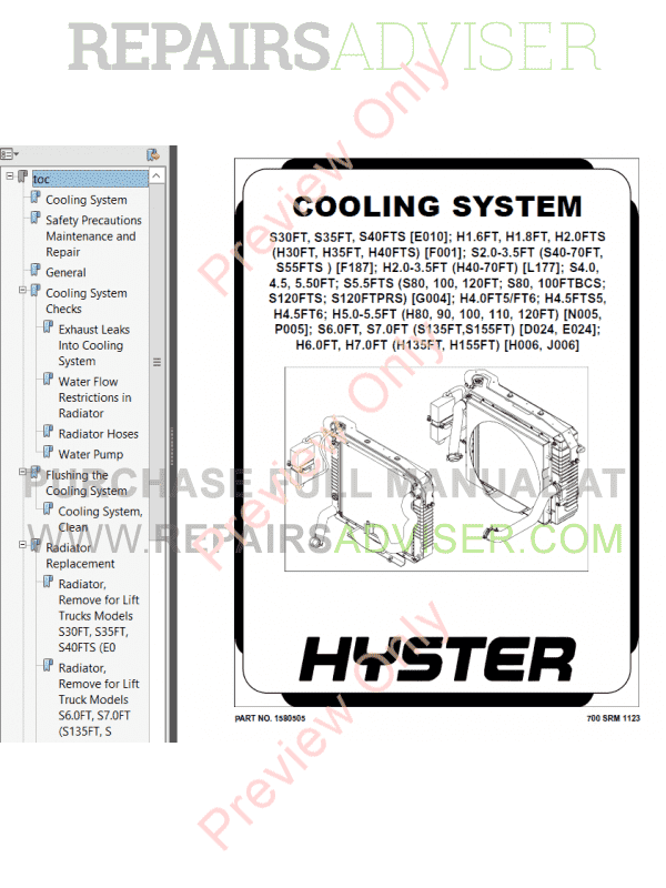 Hyster Class 5 For J006 Internal Combustion Engine Trucks PDF Manual image #1