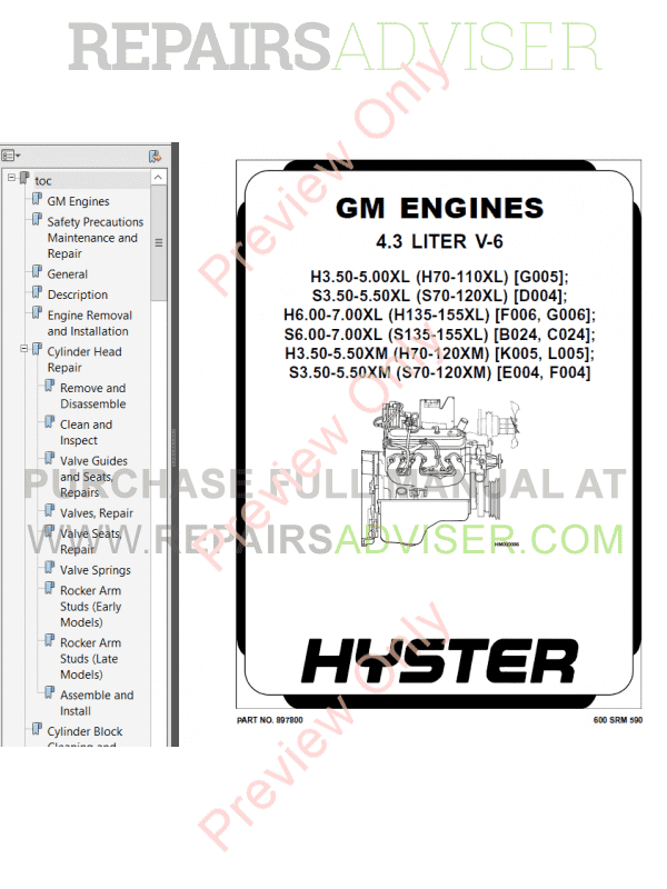 Hyster Class 5 For K005 Internal Combustion Engine Trucks PDF Manual image #1