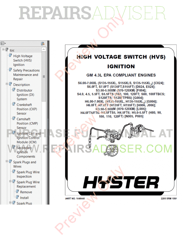 Hyster Class 5 For N005 Europe Internal Combustion Engine Trucks PDF Manual image #1