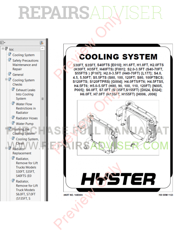 Hyster Class 5 For P005 Europe Internal Combustion Engine Trucks PDF Manual image #1