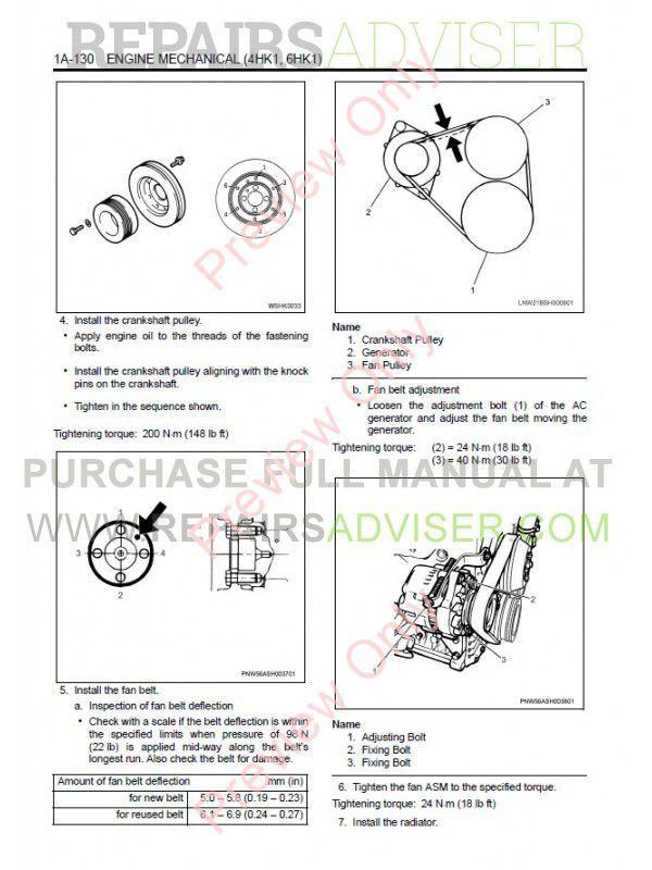 Isuzu 4HK1 - 6HK1 Model Industrial Diesel Engine Workshop