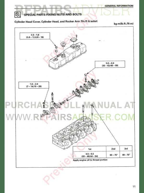 Isuzu Engine Base 4JG2 for Hyundai Equipment Service Manual