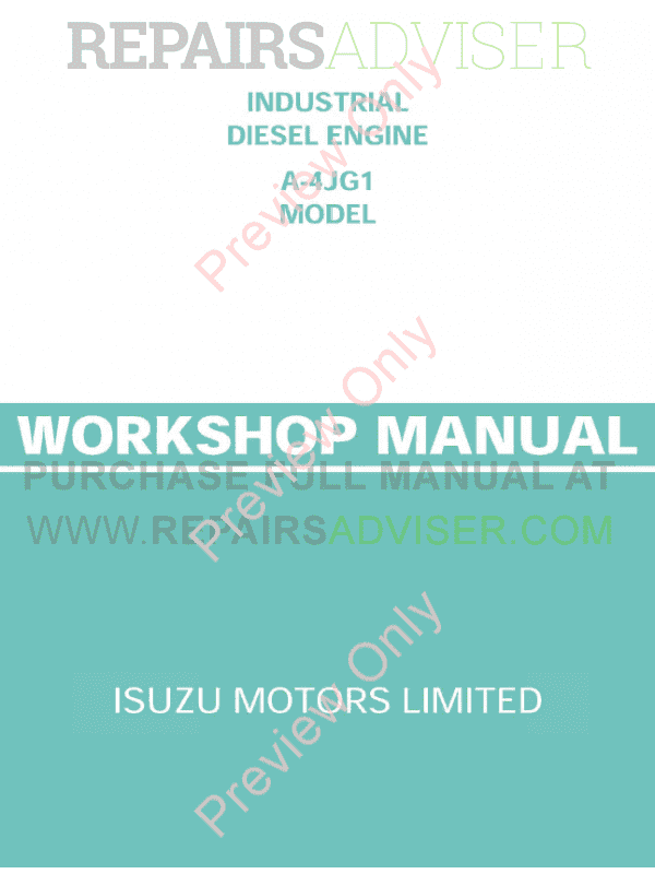 Isuzu Industrial Diesel Engine A-4JG1 Model Workshop Manual PDF image #1