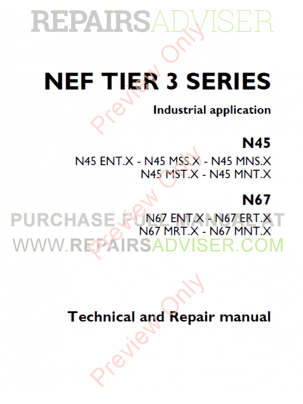 Iveco N45 & N67 NEF Tier3 Series Technical and Repair Manual PDF image #1