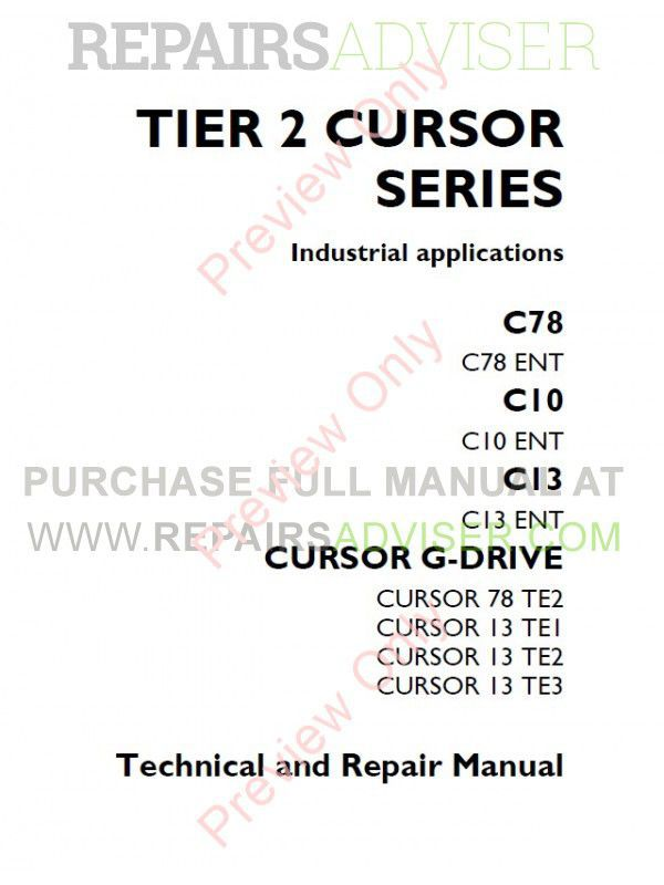 Iveco Tier 2 Cursor Series C78 C10 C13 Cursor G-Drive Technical Repair Manual PDF image #1