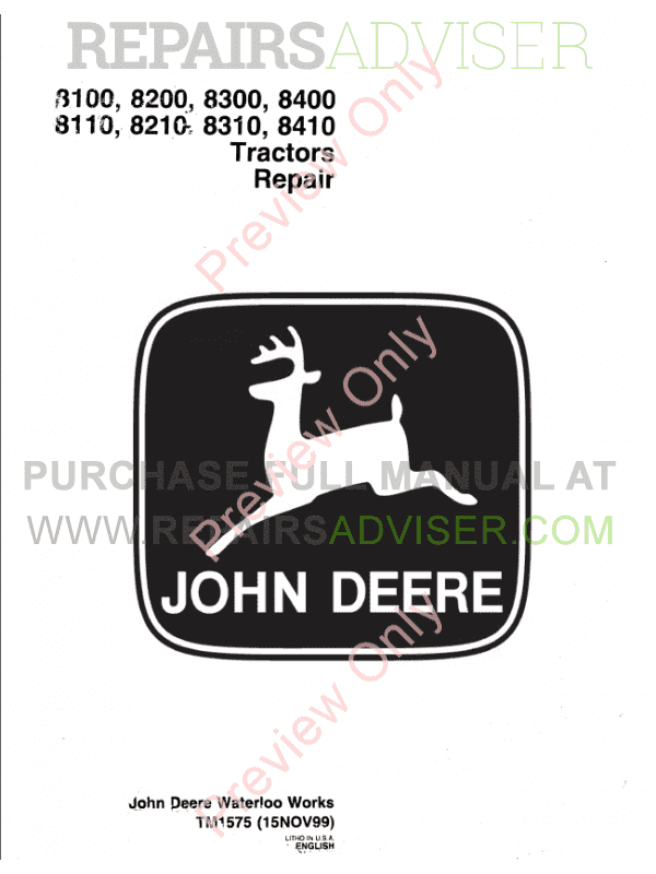 John deere 8200 Manual