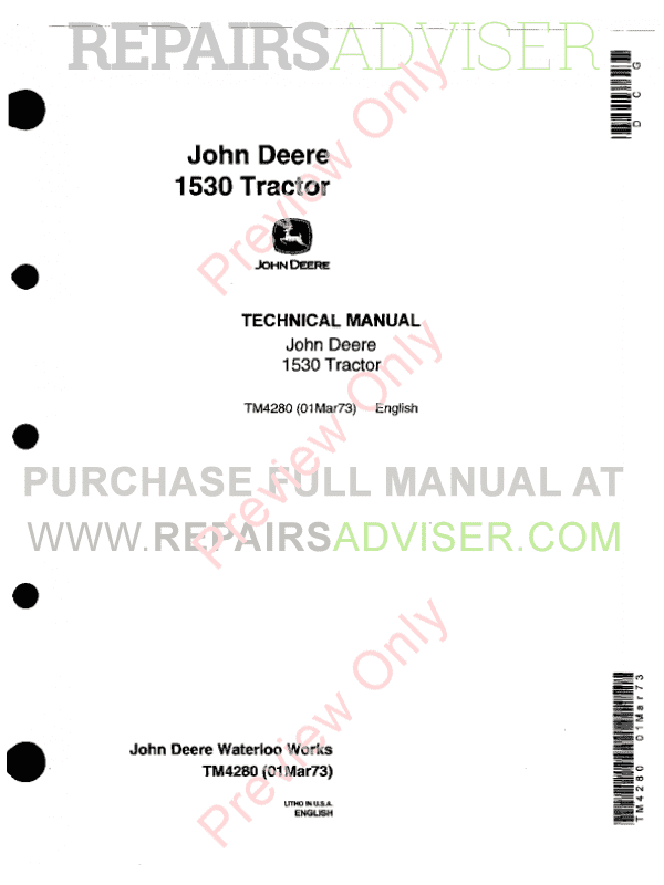 John Deere 1530 Tractor PDF Technical Manual 4280 image #1