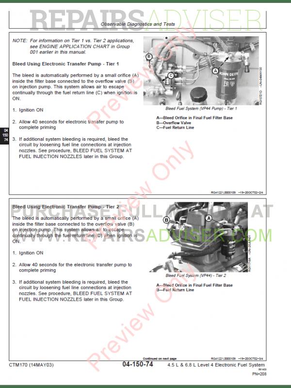 John Deere 4 5, 6 8 L Engine Level 4 Electronic Fuel System