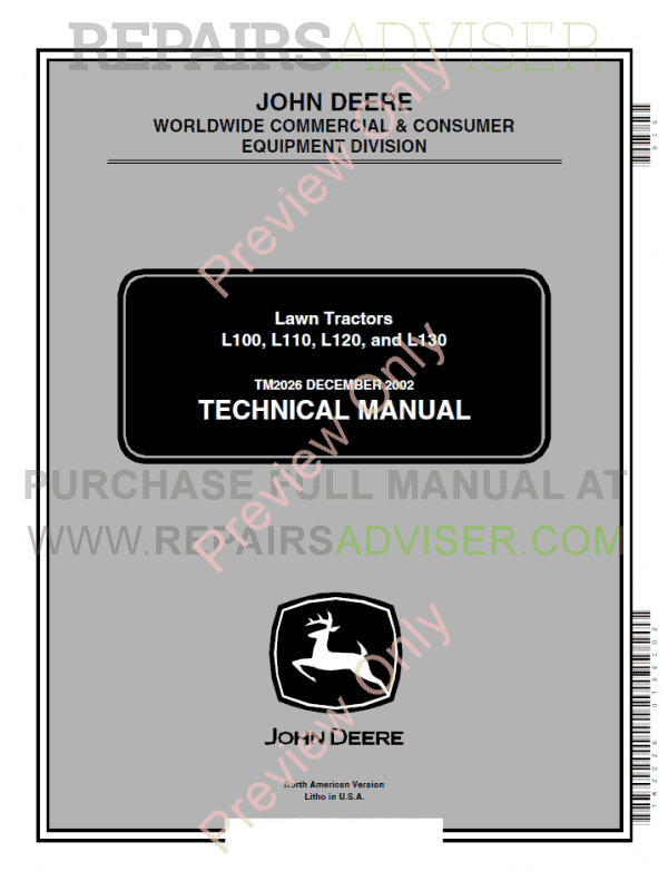 John Deere L L L L Lawn Tractors Technical Manual X Product Popup
