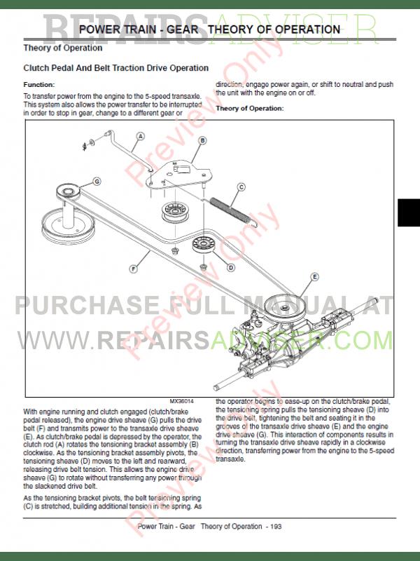 john deere la130, la140, la150 lawn tractor technical manual tm-2371  pdf,