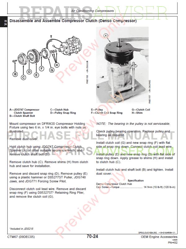 John Deere OEM Engine Accessories Technical Manual CTM67 PDF
