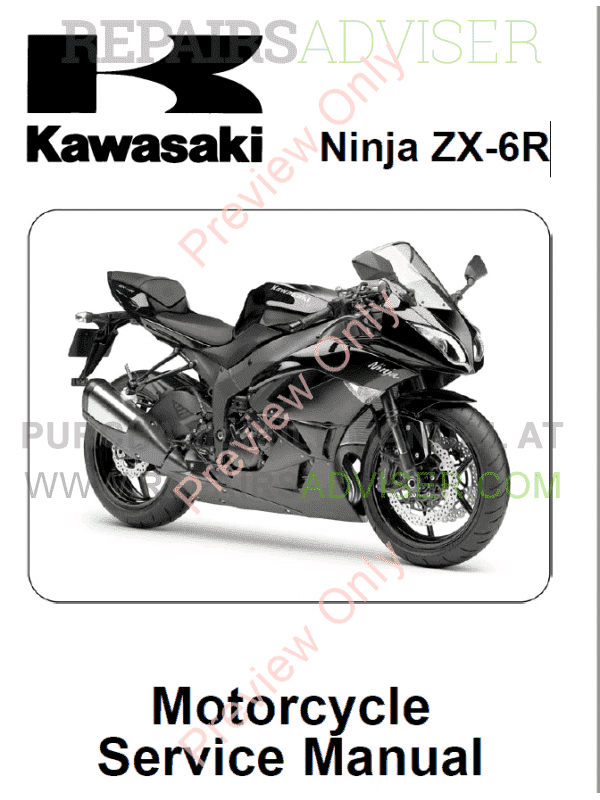 kawasaki ninja zx 6r motorcycle service manual pdf download. Black Bedroom Furniture Sets. Home Design Ideas