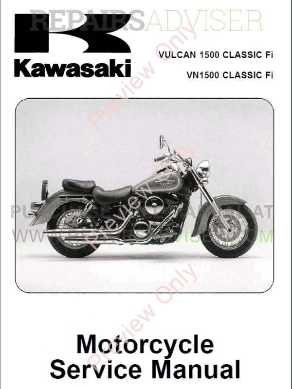 Kawasaki Vulcan 1500 Fi Vn 1500 Classic Fi Motorcycle Service