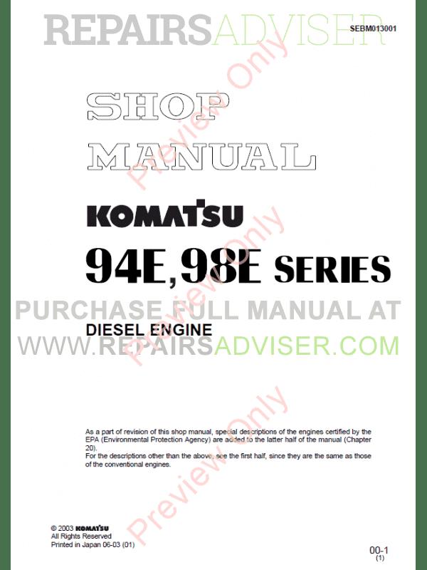 komatsu diesel engine 94e 98e series shop manual download. Black Bedroom Furniture Sets. Home Design Ideas