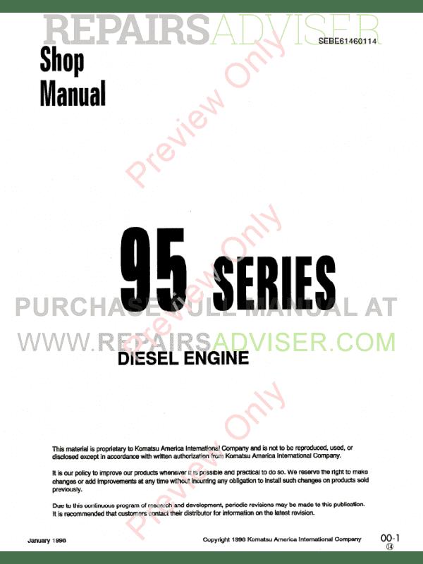 komatsu diesel engine 95 series shop manual pdf download. Black Bedroom Furniture Sets. Home Design Ideas