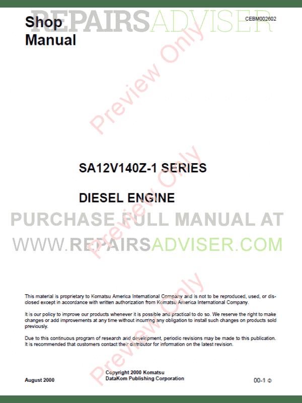 komatsu diesel engine sa12v140z 1 series shop manual pdf. Black Bedroom Furniture Sets. Home Design Ideas