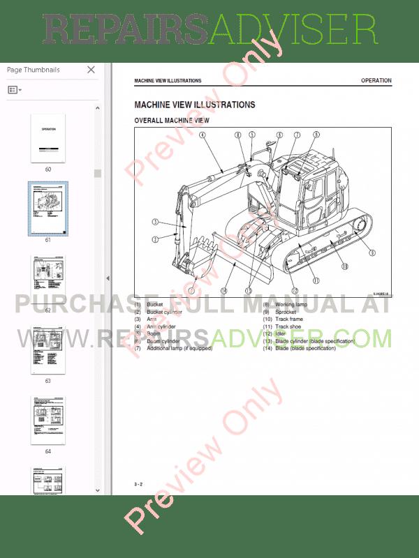 Komatsu Hydraulic Excavator PC138US-8 Set of PDF Manuals