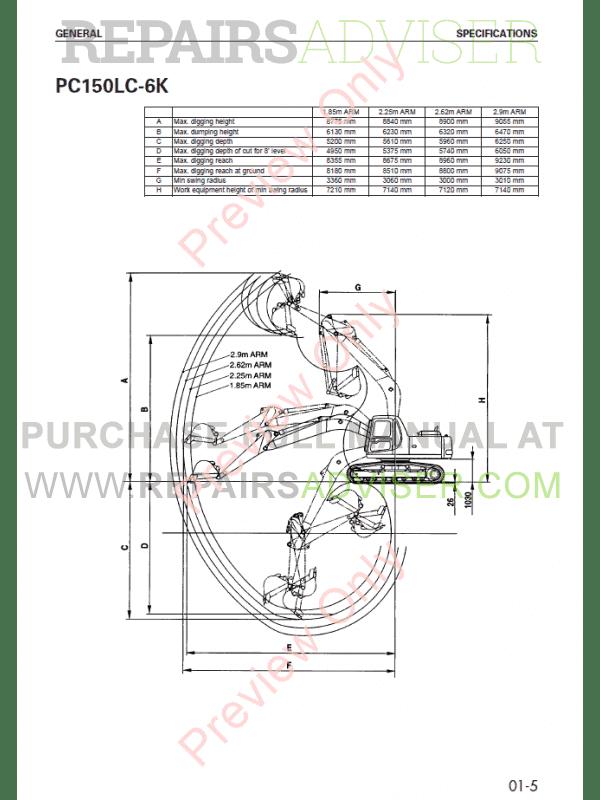 komatsu hydraulic excavator pc150-5, pc150-6 set of pdf manuals,  manuals