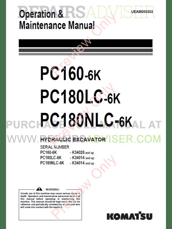 Komatsu Hydraulic Excavator PC160/180-6K Set of PDF Manuals
