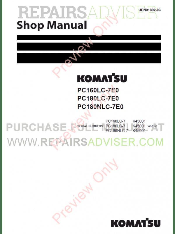 Komatsu Hydraulic Excavator PC160LC-7K, PC180LC-7K Set of PDF