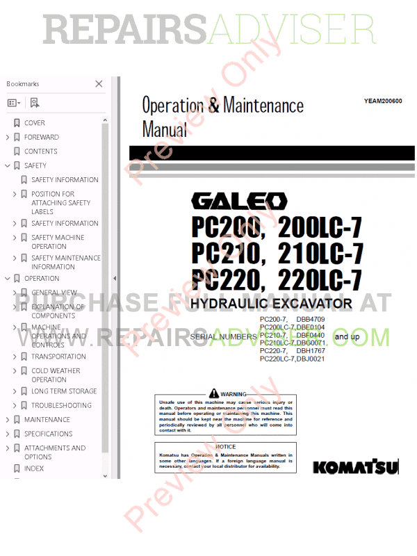 Komatsu Hydraulic Excavator PC200-210-220-7 Set PDF Manuals