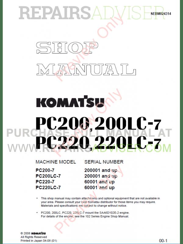 Komatsu Hydraulic Excavator PC200-210-220-7 Set PDF Manuals Download