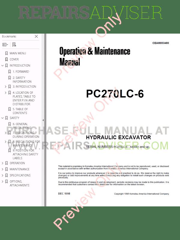 Komatsu Hydraulic Excavator PC270-6 Set of PDF Manuals Download