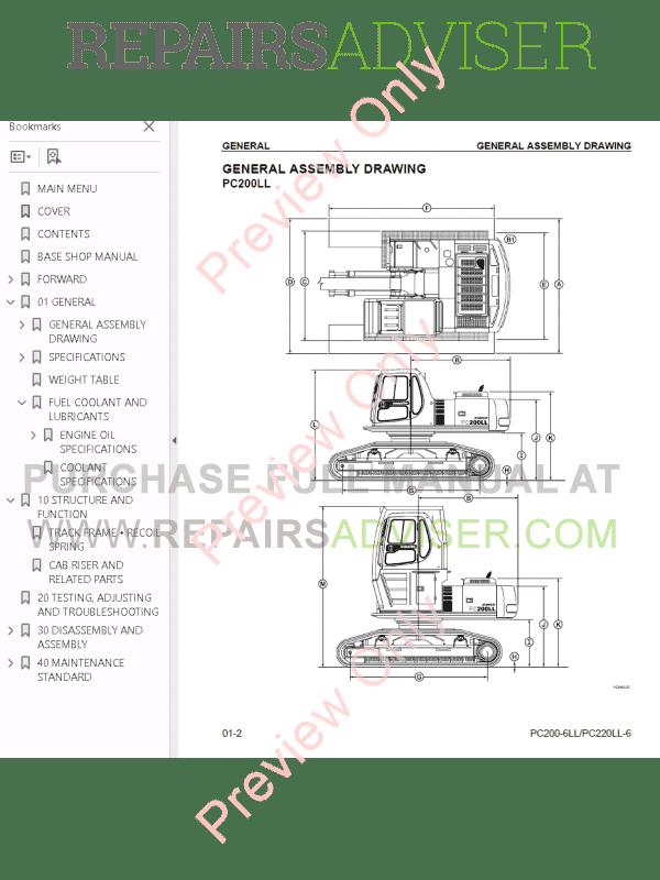 Komatsu Hydraulic Excavators PC200-250-6 Set of PDF Manuals