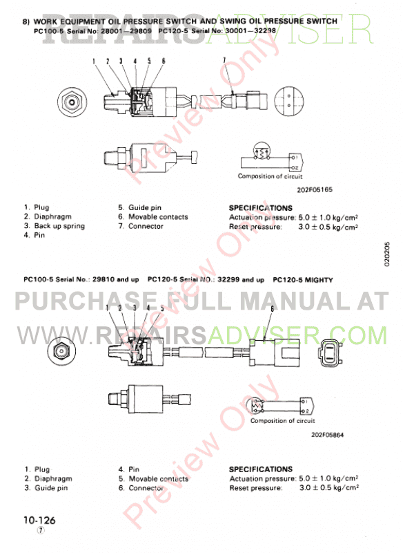 komatsu pc100 5 pc120 5 pc120 5 mighty excavator shop manual. Black Bedroom Furniture Sets. Home Design Ideas