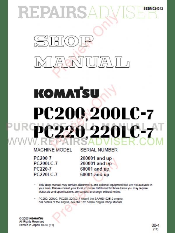 Komatsu PC200-7 PC200LC-7 PC220-7 PC220LC-7 Hydraulic Excavator Shop Manual  PDF
