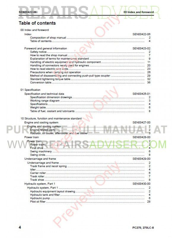 Komatsu PC270-8, PC270LC-8 Hydraulic Excavators Shop Manual PDF Download