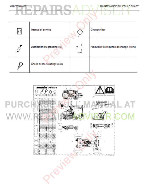 Komatsu PW150ES-6K Hydraulic Excavator Operation Shop Manual
