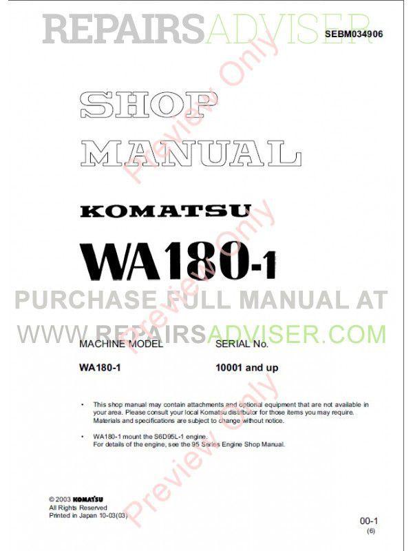 Komatsu WA180-1 Wheel Loader Shop Manual PDF