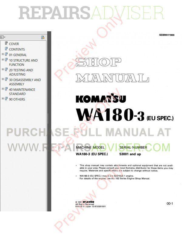 komatsu wa180-3, wa180-3 (eu) wheel loaders set of pdf