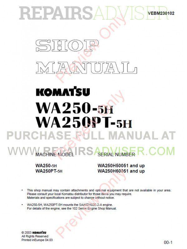 Komatsu WA250-5H, WA250PT-5H Wheel Loaders Shop Manual PDF Download