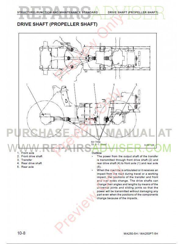 komatsu wa250 5h wa250pt 5h wheel loaders shop manual pdf. Black Bedroom Furniture Sets. Home Design Ideas