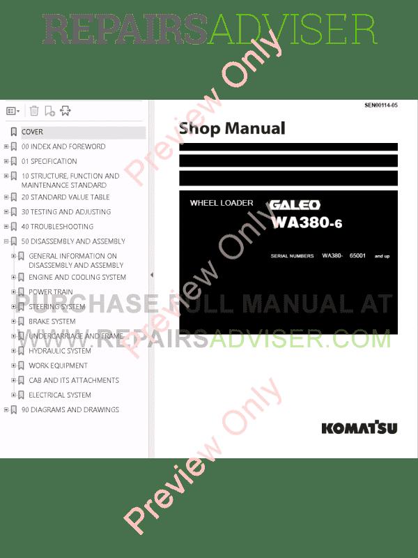 Komatsu WA380-3/WA380-5H/WA380-6/WA380-6H Wheel Loaders Shop Manuals