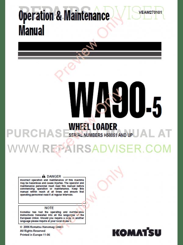 Komatsu WA90-5/100M-5 Wheel Loader Maintenance, Shop Manuals