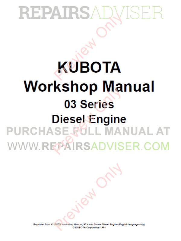Kubota 03 Series Diesel Engine Workshop Manual PDF Download
