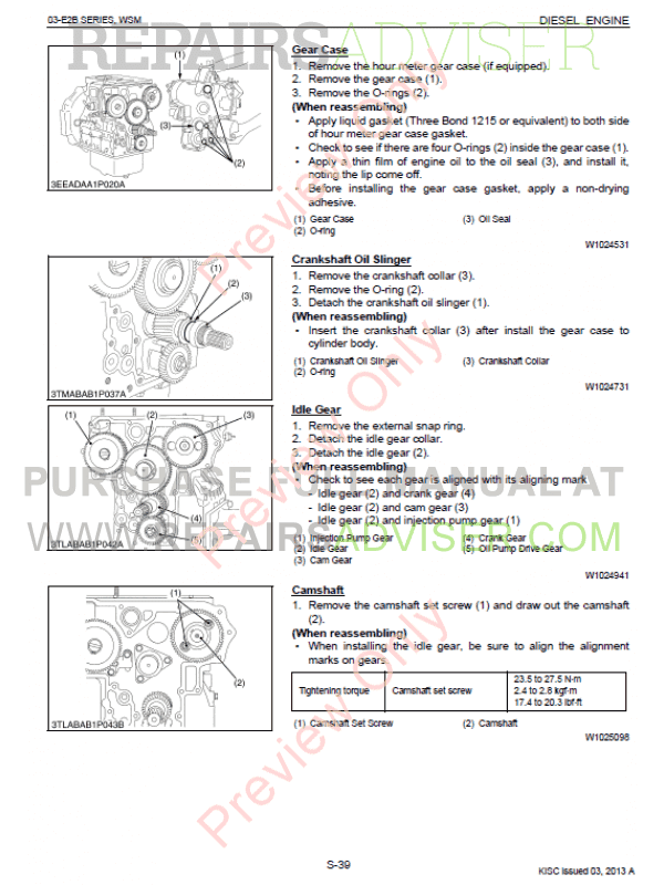 Kubota 03-E2B Series Diesel Engine Workshop Manual 9Y011
