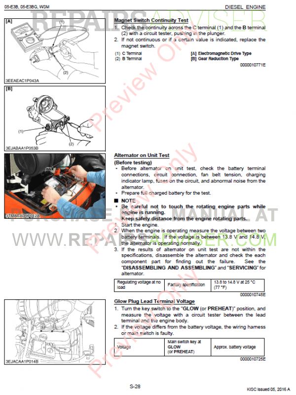 Kubota 05-E3B, 05-E3BG Diesel Engines Workshop Manual Download