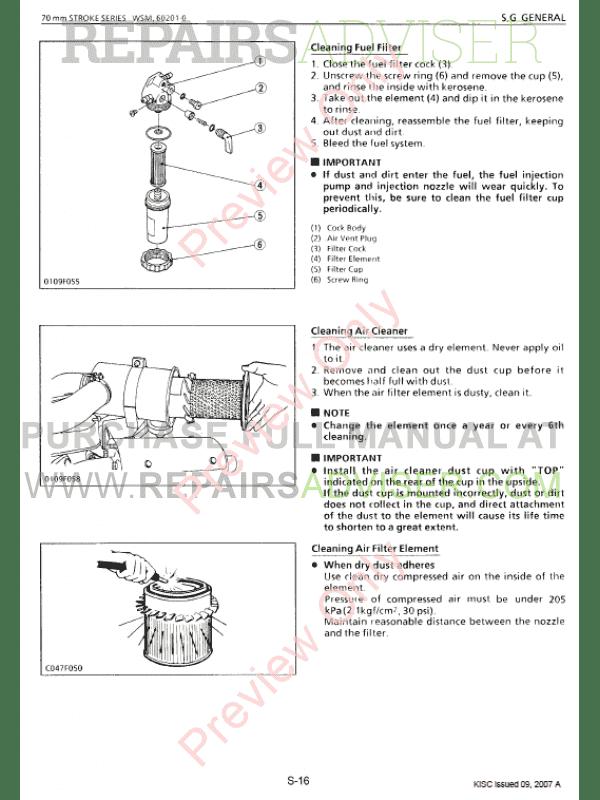 Kubota 70mm Stroke Series Diesel Engine Workshop Manual