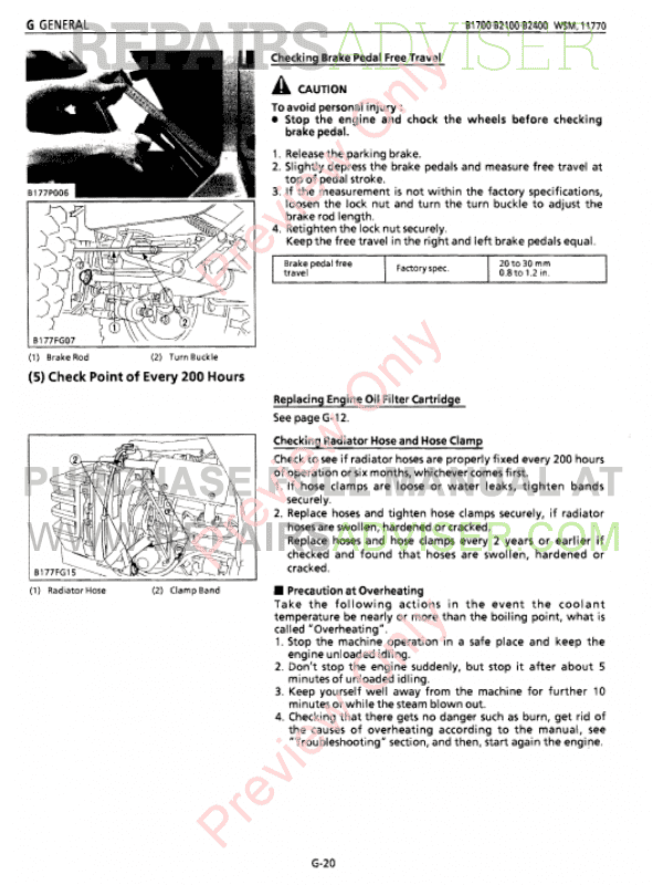 kubota b1700, b2100, b2400 tractors workshop service manual pdf, kubota  manuals by www