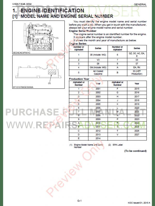 Kubota V1505-T-E4B Diesel Engine Workshop Manual 9Y111-07862 PDF