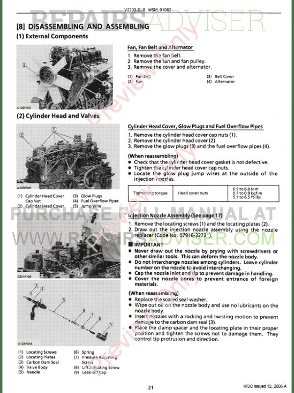 Kubota Engine V2203 Service manual