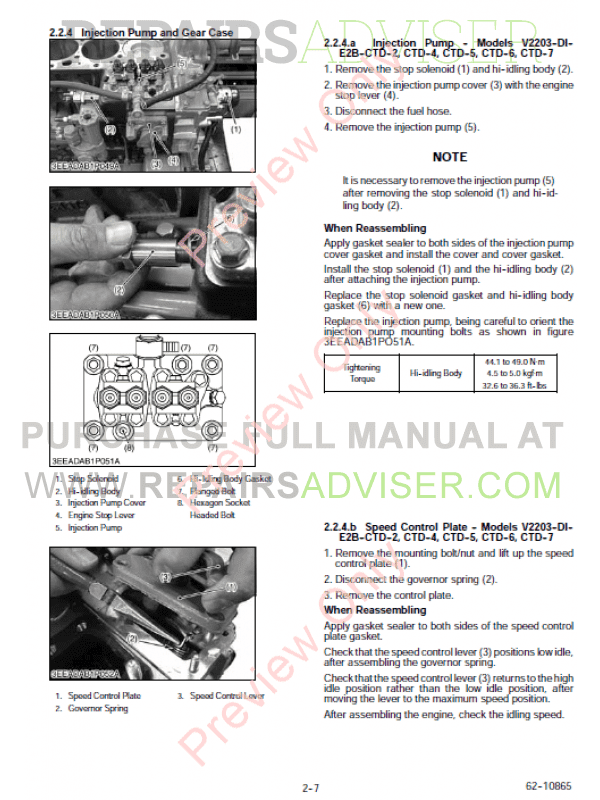 Kubota engine V2203 Service manual Whirlpool washing Machine