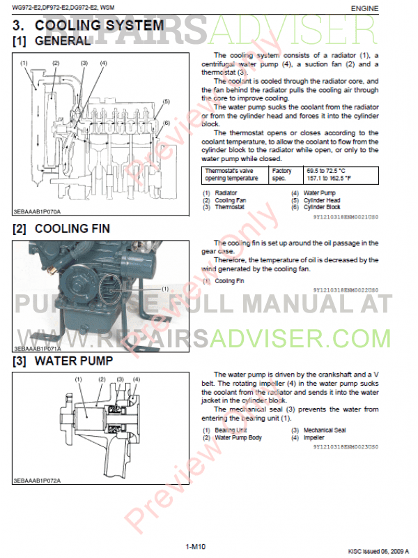 kubota wg972-e2, df972-e2, dg972-e2 engines workshop manual 9y111